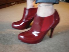 new low rise  red ankle  stiletto boots