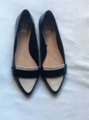 Tesco F & F black and white pointed flat shoes